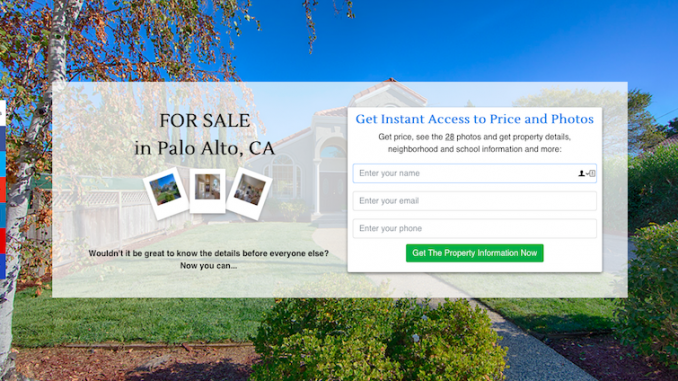Landing pages for listing marketing