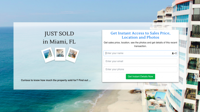 Just Sold Lead Capturing RealBird Landing Page