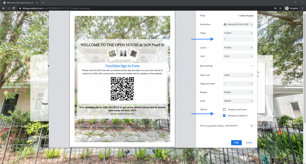 Screenshot of how to print the touchless open house marketing form on Chrome