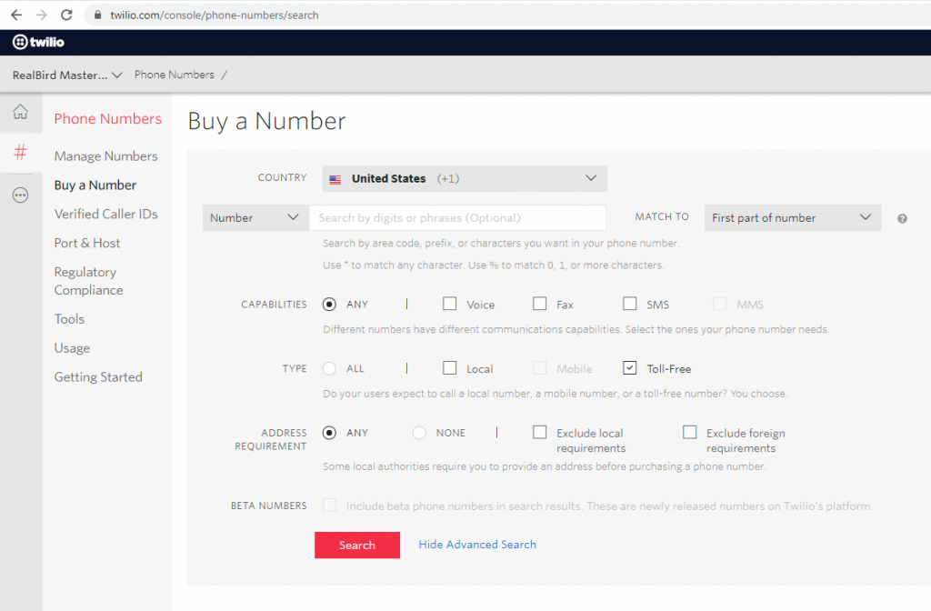 How To - Twilio Toll Free Number Search